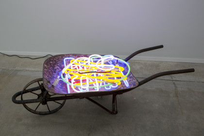 Deconstructed Las Vegas Sign In Wheelbarrow, 2015